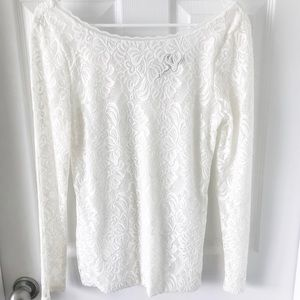 Reversible WHBM white lace top